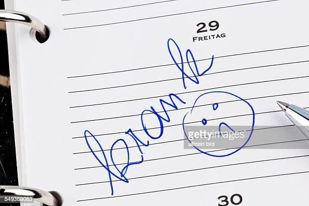 Ein Termin ist in einem Kalender eingetragen Krank