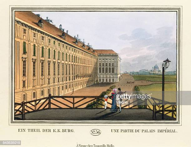 Ein Theil der kk Burg [Imperial Palace] 1825 Coloured etching Journal No 56 from >Wiens vorzüglichste Gebäude und Monumente Les principaux batiments...