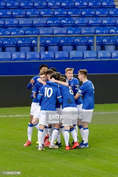 Einar Iversen and Everton team mates celebrate the goal of Michael Collins during the FA Youth Cup match between Everton and Brighton Hove Albion at...
