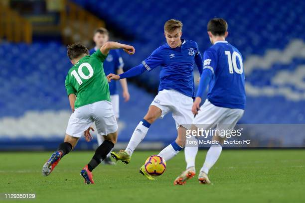 Einar Iversen of Everton during the FA Youth Cup match between Everton and Brighton Hove Albion at Goodison Park on February 12 2019 in Liverpool...