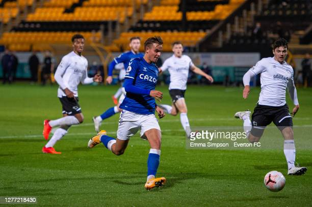Einar Iversen of Everton in action during the Premier League 2 match between Everton and Derby County at Merseyrail Community Stadium on September...
