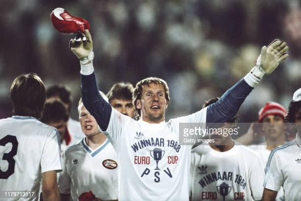 Eindhoven goalkeeper Hans van Breukelen celebrates after PSV had won the 1988 European Cup after a penalty shootout at Neckarstadion on 25th May,...