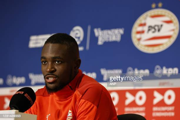Eindhoven goalkeeper Yvon Mvogo during press conference of the Dutch Eredivisie match between PSV Eindhoven and Ajax Amsterdam at the Phillips...