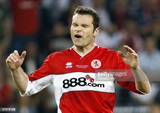 Middlesbrough 's Australian forward Mark Viduka reacts during the UEFA cup final football match Middlesbrough vs FC Sevilla 10 May 2006 at the PSV...