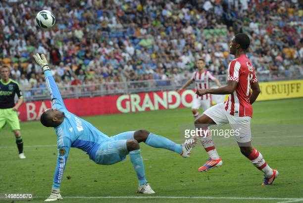 PSV Eindhoven player Georginio Wijnaldum scores the 42 goal against Ajax Amsterdam during the Johan Cruyff Shield a football trophy in the...
