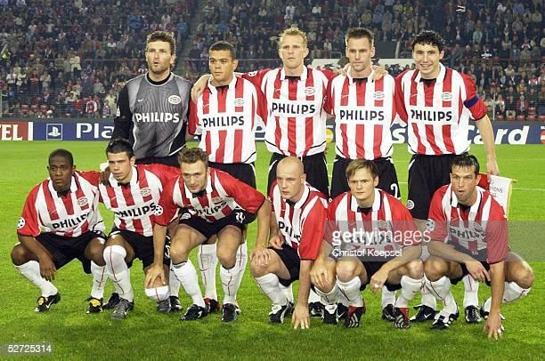 LEAGUE 02/03 Eindhoven PSV EINDHOVEN BORUSSIA DORTMUND 13 TEAM PSV EINDHOVEN hinten vl TORWART Ronald WATERREUS Wilfried BOUMA Remco VAN DER SCHAAF...