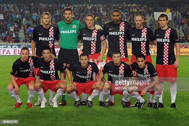PSV Eindhoven squad poses for photographers before the UEFA Europa League Group K football match between Sparta Prague and PSV Eindhoven at Generali...