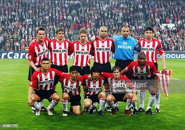 Eindhoven team line up prior to the UEFA Champions League Semi Final 2nd Leg match between PSV Eindhoven and AC Milan held at The Philips Stadion on...