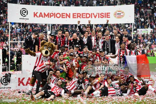 PSV Eindhoven's celebrate winning the Dutch Eredivisie championship football match against Ajax Amsterdam at the Philips Stadion in Eindhoven The...