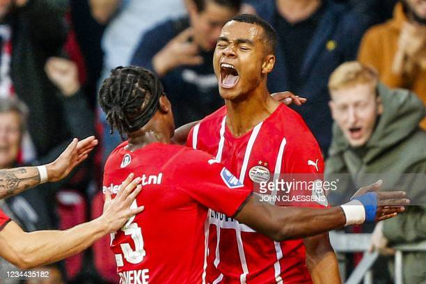 Eindhoven's Cody Gakpo celebrates 3-0 during the UEFA Champions League - third qualifying round match PSV against FC Jyllands in Eindhoven on August...