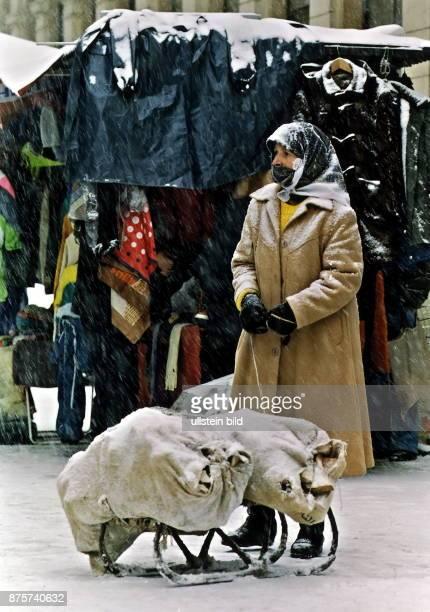 eine Holzverkäuferin in Sarajewo führt auf einem Schlitten zwei Säcke mit Holz mit sich November 1993