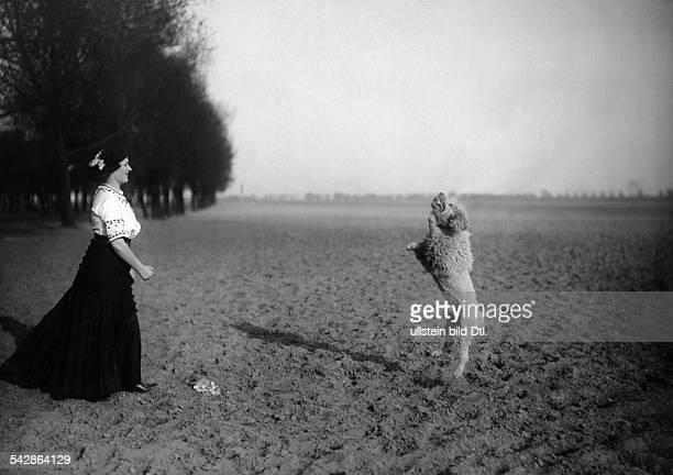 Eine Hundehalterin mit ihrem Pudel auf dem Feld, der Hund fängt etwas auf.- undatiert, vermutlich 1911Foto: Conrad HünichBild ist Teil einer Serie.