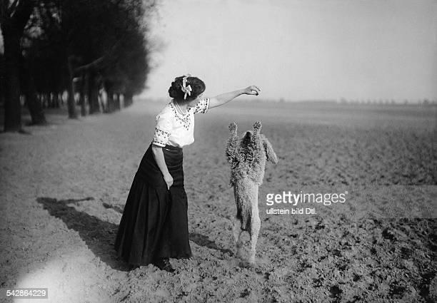 Eine Hundehalterin mit ihrem Pudel auf dem Feld der Hund macht Männchen undatiert vermutlich 1911veröffentlicht Praktische Berlinerin 36/1911...