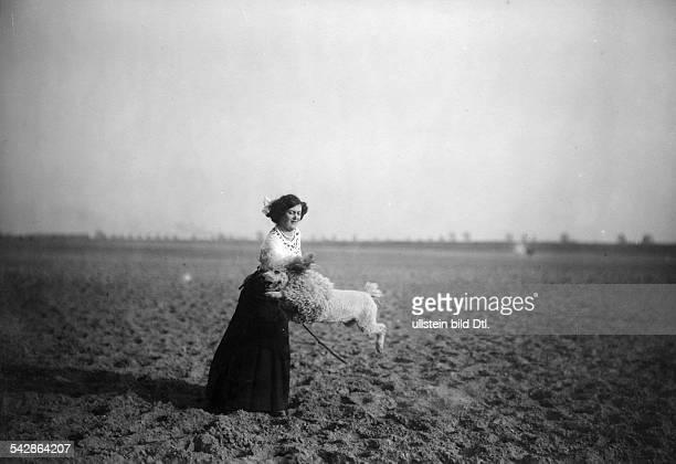 Eine Hundehalterin mit ihrem Pudel auf dem Feld der Hund springt durch einen Reifen undatiert vermutlich 1911Foto Conrad HünichBild ist Teil einer...