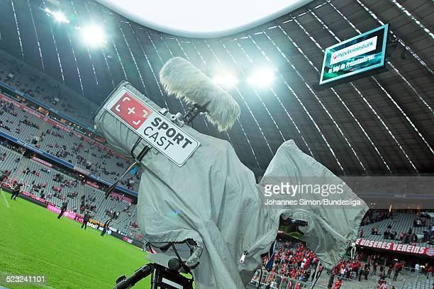 Eine SPORTCAST-TV-Kamera, gesehen nach dem Bundesliga Spiel zwischen dem FC Bayern Muenchen und Borussia Moenchengladbach am in der Muenchner...