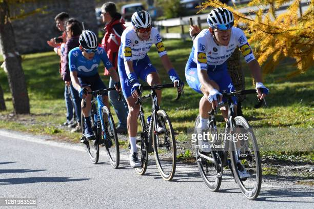 Einer Augusto Rubio Reyes of Colombia and Movistar Team / Pieter Serry of Belgium and Team Deceuninck - Quick-Step / Davide Ballerini of Italy and...
