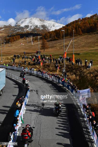 Einer Augusto Rubio Reyes of Colombia and Movistar Team / Sestriere / Breakaway / Fans / Public / Landscape / Mountains / Snow / during the 103rd...