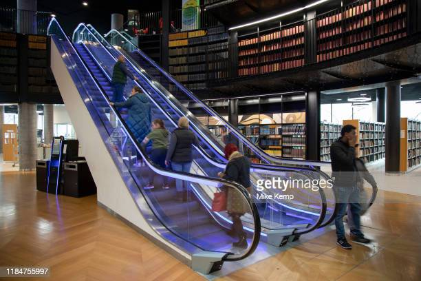 EInerior of the Library of Birmingham Birmingham, United Kingdom. The Library of Birmingham is a public library in Birmingham, England. It is...