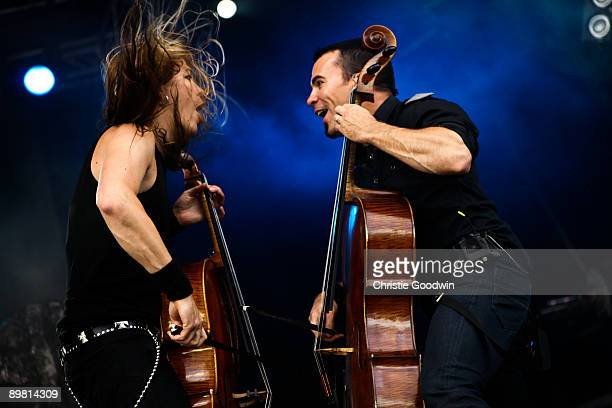Eino Matti Toppinen and Paavo Lotjonen of Apocalyptica perform on stage on the second day of Bloodstock Open Air festival at Catton Hall on August 15...