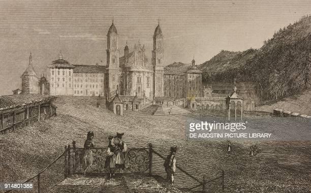Einsiedeln Abbey Canton of Schwyz Switzerland engraving by Rouargue from Histoire et description de la Suisse et du Tyrol by Marie Philippe Aime de...