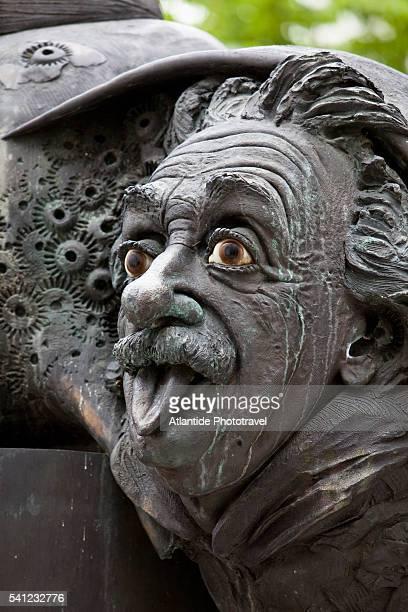 Einstein fountain (Einstein-Brunnen), Zeughausgasse, Ulm, Germany