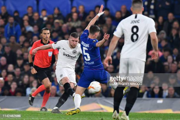 Eintr Frankfurt's Croatian forward Ante Rebic shoots at goal during the UEFA Europa League semifinal second leg football match between Chelsea and...