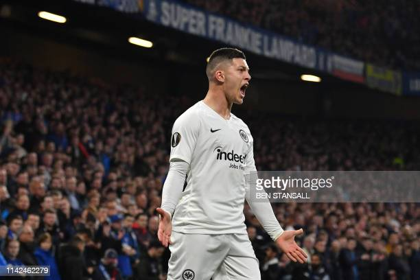 Eintr Frankfurt's Serbian forward Luka Jovic reacts during the UEFA Europa League semifinal second leg football match between Chelsea and Eintracht...