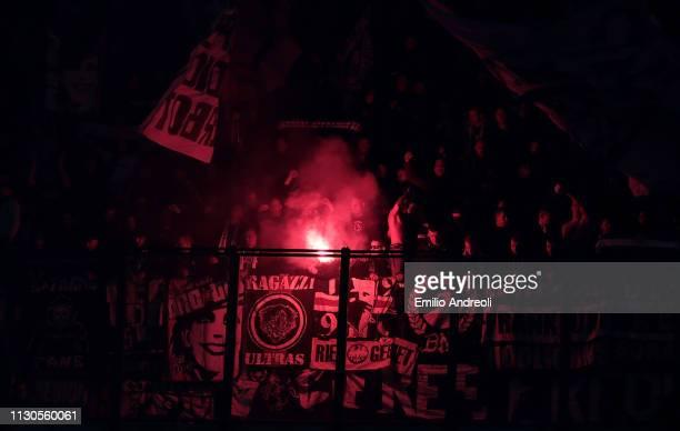 Eintracht Frankfurt fans show their support during the UEFA Europa League Round of 16 Second Leg match between FC Internazionale and Eintracht...