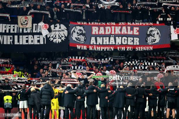Eintracht Frankfurt fans show their support towards players in defeat after the UEFA Europa League Semi Final Second Leg match between Chelsea and...