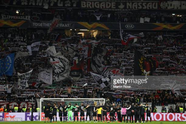 Eintracht Frankfurt players acknowledges the fans after the UEFA Europa League Semi Final First Leg match between Eintracht Frankfurt and Chelsea at...