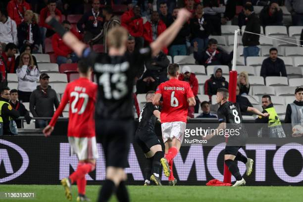 Eintracht Frankfurt's forward Luka Jovic celebrates after scoring a goal during the UEFA Europa League QuarterFinals 1st Leg football match SL...