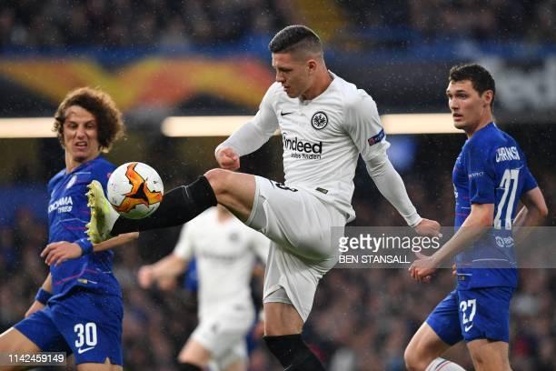 Eintracht Frankfurt's Serbian forward Luka Jovic controls the ball during the UEFA Europa League semifinal second leg football match between Chelsea...