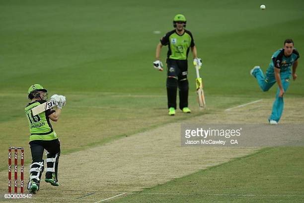 Eion Morgan of the Thinder bats during the Big Bash League match between the Sydney Thunder and Brisbane Heat at Spotless Stadium on December 28 2016...