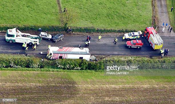 Eireann schoolbus carrying up to 50 secondary school students after class is seen on its side after a collision 23 May 2005 in County Meath north of...