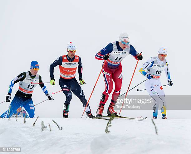 Eirik Brandsdal of Norway Federico Pellegrino of Italy during Cross Country Men 17 km Sprint Free on March 01 2016 in Gatineau Quebec Canada