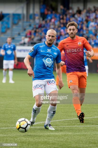 Fredrik Brustad of Molde FK controls the ball during the UEFA Europa League Qualifier between Molde FK and FC Glenavon on July 19 2018 in Molde Norway