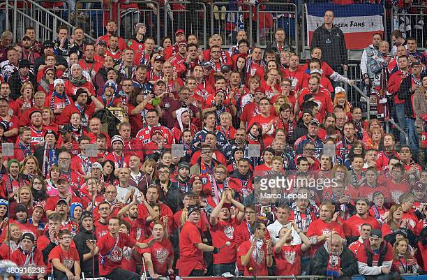 Eisbaeren fans look on during the game between Eisbaeren Berlin and ERC Ingolstadt on december 30 2014 in Berlin Germany