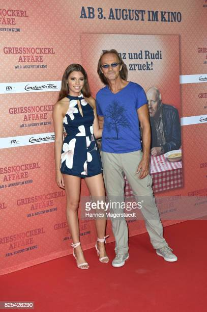 Eisi Gulp and his daughter Aliyah during the 'Griessnockerlaffaere' premiere at Mathaeser Filmpalast on August 1, 2017 in Munich, Germany.