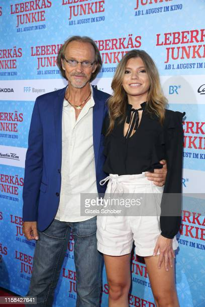 Eisi Gulp and his daughter Aliyah during the premiere of the Eberhofer Krimi Leberkaesjunkie at Mathaeser Filmpalast on July 29 2019 in Munich Germany