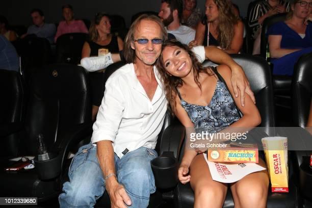 Eisi Gulp and his daughter Aliyah Gulp during the 'Sauerkrautkoma' premiere at Mathaeser Filmpalast on August 6 2018 in Munich Germany