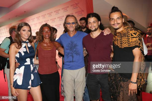 Eisi Gulp and his wife Yvonne daughter Aliyah son Aaron and son Anthony during the 'Griessnockerlaffaere' premiere at Mathaeser Filmpalast on August...