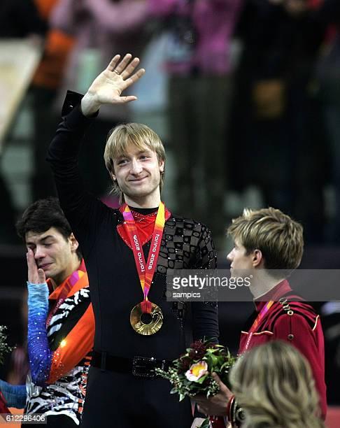 Eiskunstlauf Herren Kr figure skating men free Gold fr Evgeni Plushenko RUS Silber fr Stephane lambiel SUI und Bronze fr Jeffry Buttle CAN olympische...