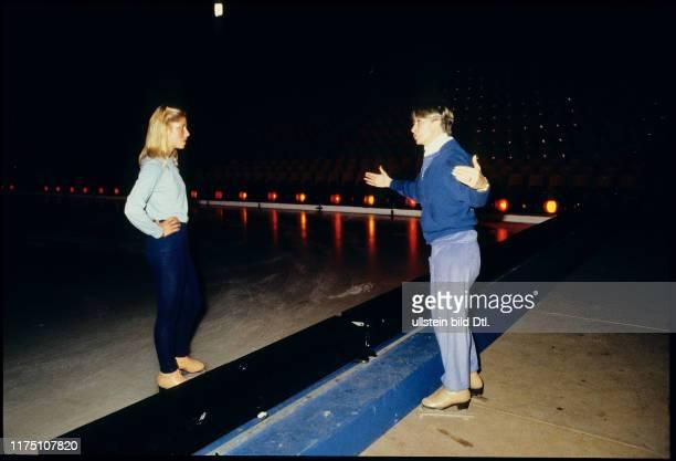 Eiskunstläuferin Denise Biellmann bei den Proben für Holiday on Ice 1981