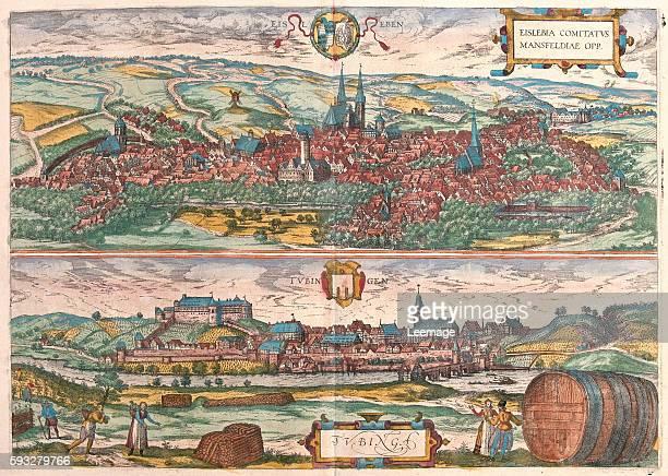 Eislebia comitatus mansfeldiae opp and Tubingen in volume IV of Civitates Orbis Terrarum published in six parts between 1572 and 1617 by Georg Braun...