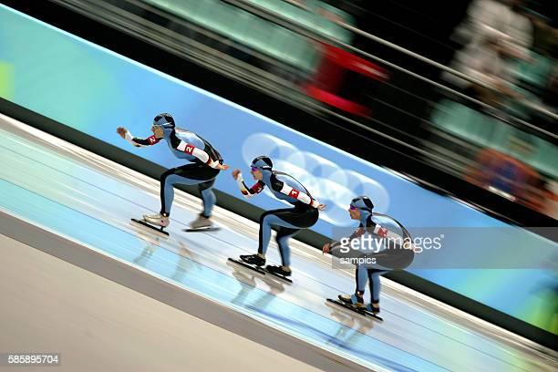 Eisschnelllauf Damen Team Finale speed skating ladies team final vli Annie Fiesinger Daniela Anschtz Thoms Claudia Pechstein olympische Winterspiele...