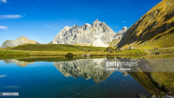 Eissee Lake, Oytal valley, at the back Mt Grosser Wilder, 2379m, Hochvogel and Rosszahn mountain ranges, Allgaeu Alps, Allgaeu, Bavaria, Germany