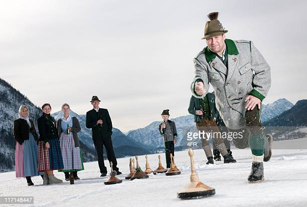 eisstockschiessen, curling on the lake grundlsee - austrian culture stock pictures, royalty-free photos & images