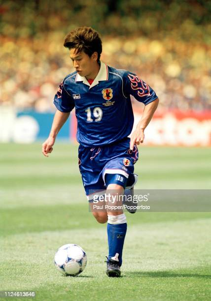 Eisuke Nakanishi of Japan in action during the 1998 FIFA World Cup Group H match between Japan and Croatia at the Stade de la Beaujoire on June 20...