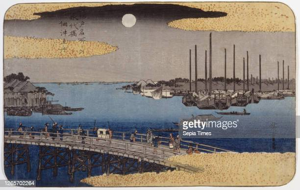 Eitai Bridge, Utagawa Hiroshige 歌川広重 , Edo, about 1830-1858, ink on paper, color woodblock print, 8-3/4 x 13-7/8 in. Sheet is trimmed to image on all...