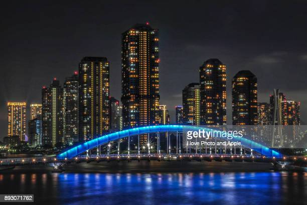 eitaibashi blue - 永代橋 ストックフォトと画像